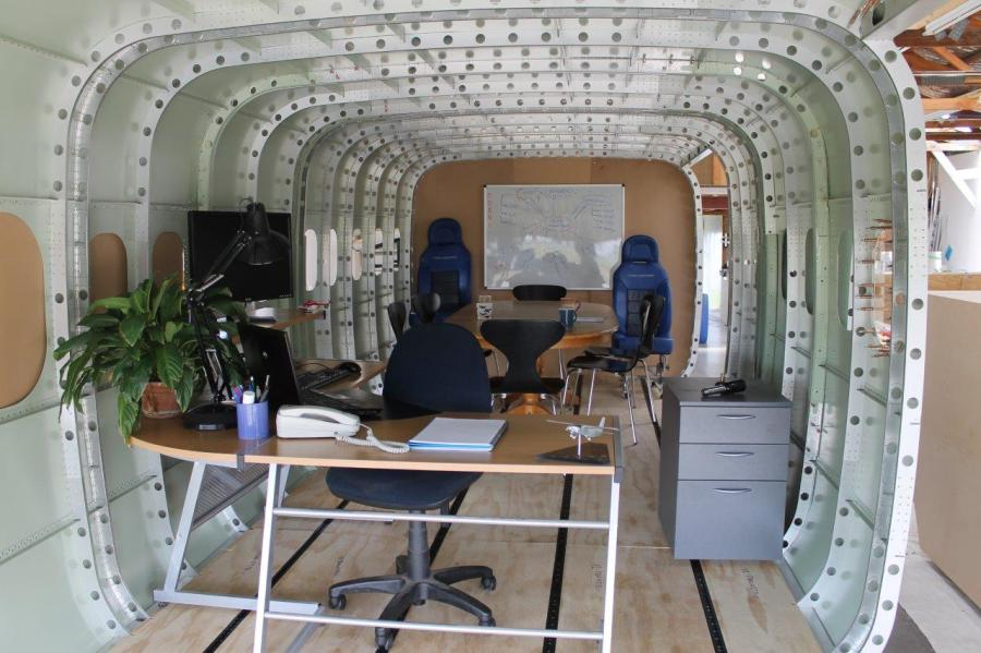 Office setup inside fuselage.